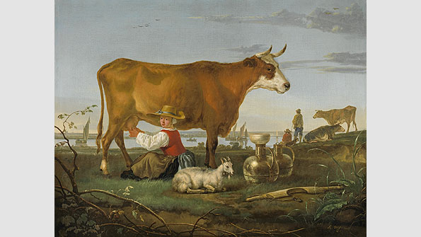 """Milking Scene along a river"" Albert Cuyp, (1650-55)"