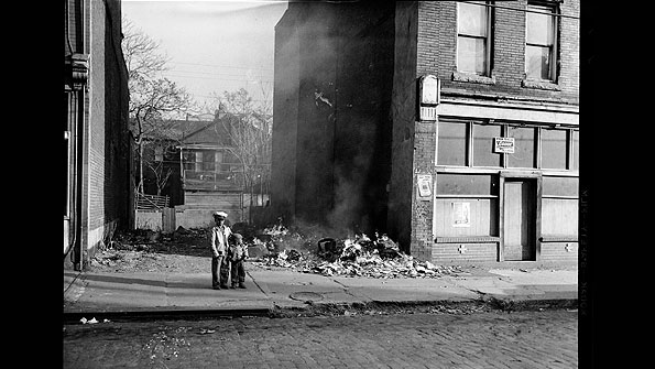 Two boys in front of an empty lot on Wylie Avenue (1955-1970)