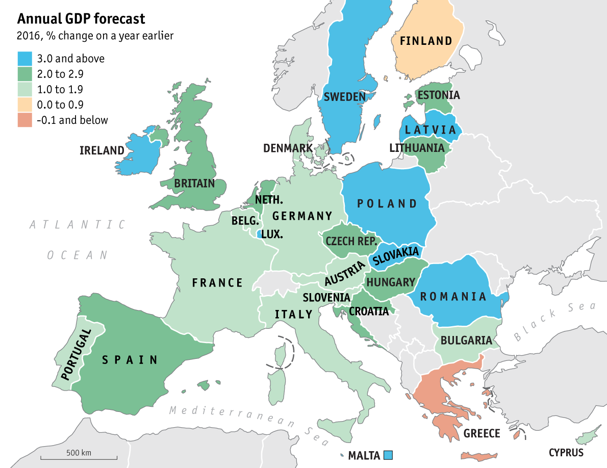 Taking Europes Pulse European Economic Guide The Economist - Map of us gdp countries