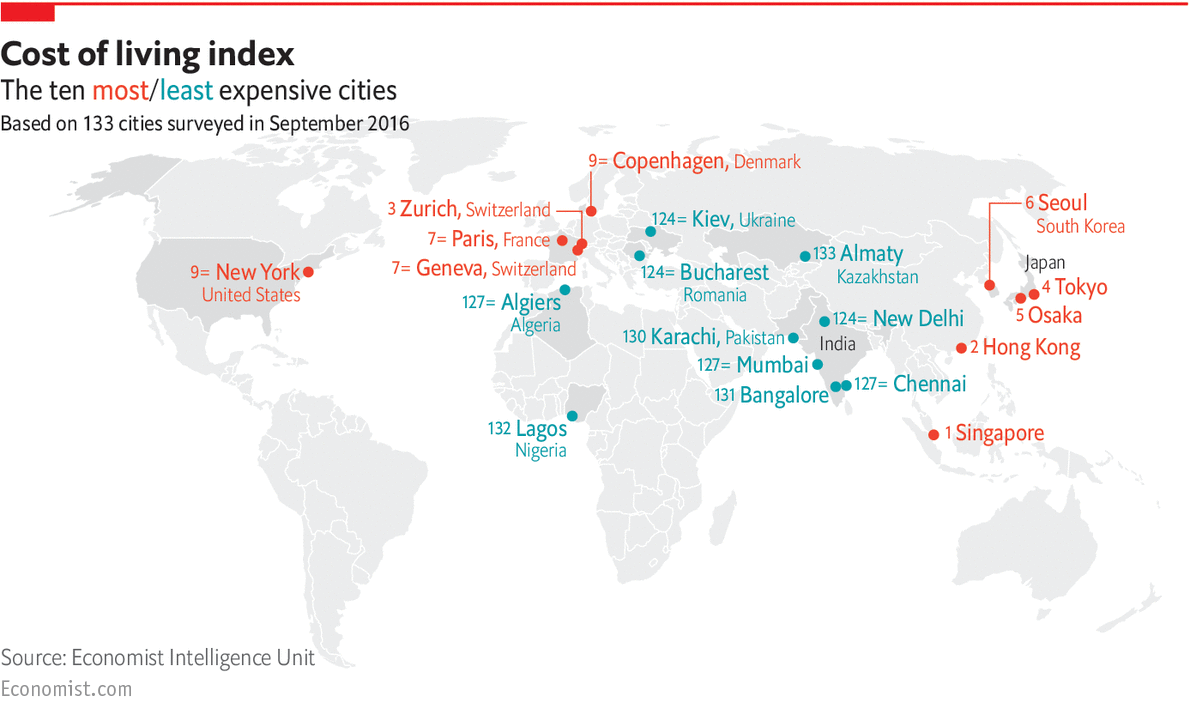Daily chart measuring the cost of living worldwide the for Top 20 most expensive cities to live in the us