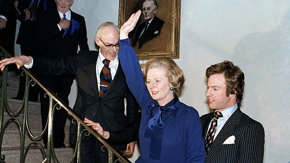 A jubilant wave as Mrs Thatcher wins the 1979 general election