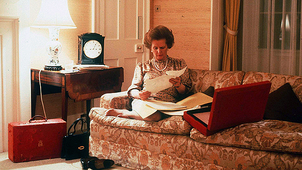 Inside 10 Downing Street, Mrs Thatcher worked long hours