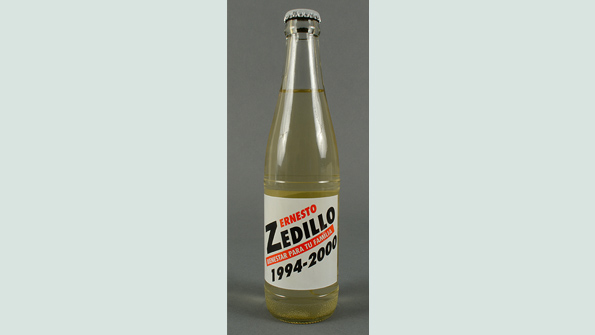 A drinks bottle bearing the name of Ernesto Zedillo