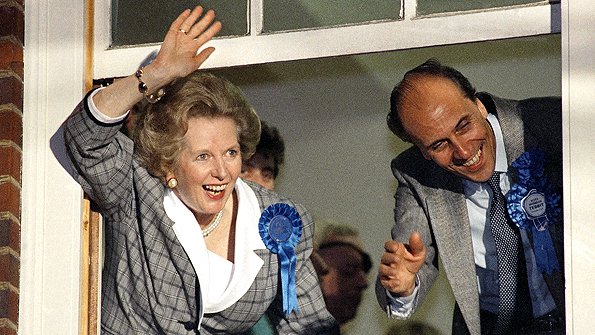 Mrs Thatcher wins a record third successive term in office in 1987