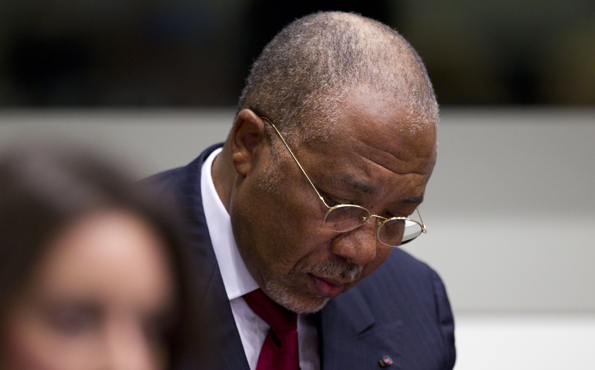 Charles Taylor reacts to the guilty verdict