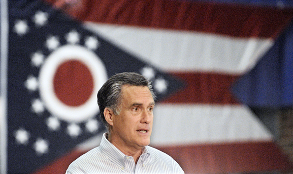Mitt Romney flies the flag