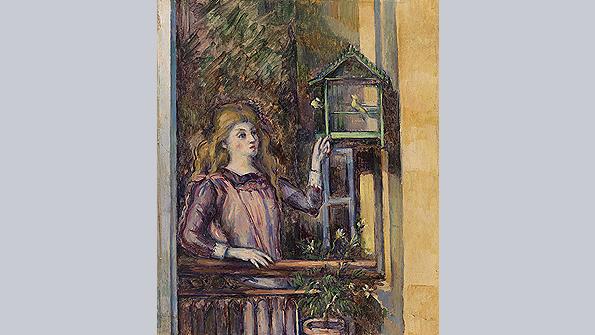 Girl with Birdcage, Paul Cézanne (c. 1888)