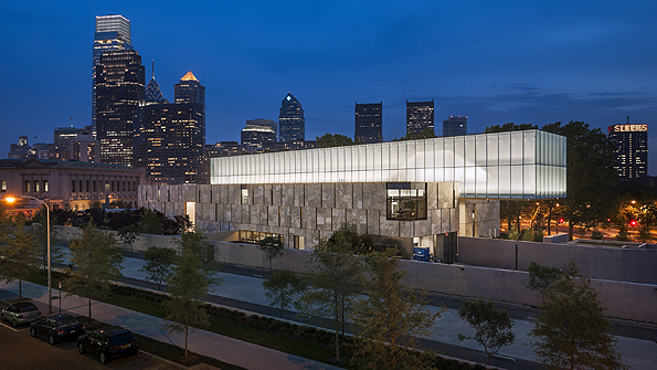 The Barnes Foundation Philadelphia, looking south east at night