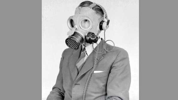 Gas mask for telephone operators
