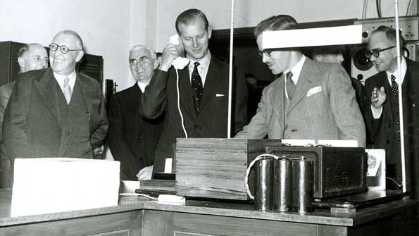 The Duke of Edinburgh makes a mobile phone call in 1955
