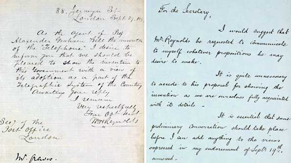 Letters showing how Alexander Graham Bell's telephone was turned down