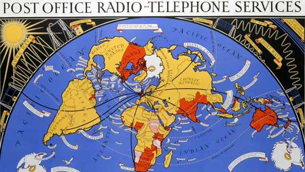 1935 poster advertising the international radio phone service
