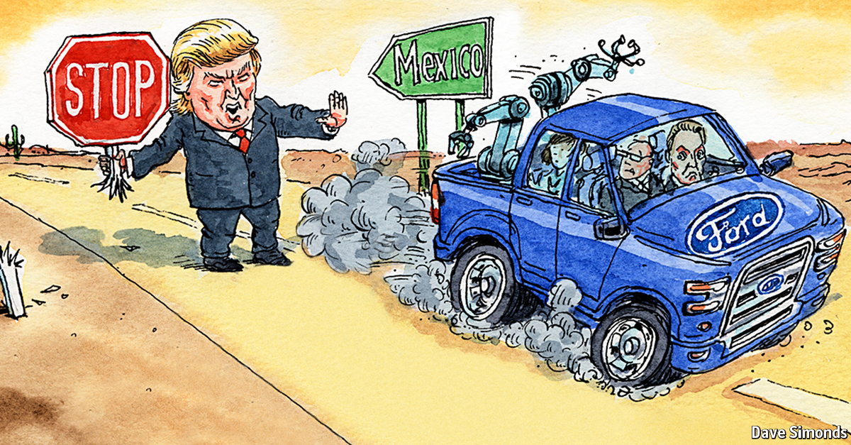 Ford Motors courts Donald Trump by scrapping a planned plant in Mexico