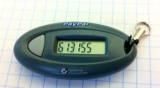 PayPal key fob reveals a one-time code.