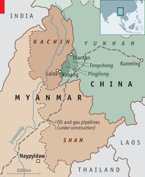 china burma border map