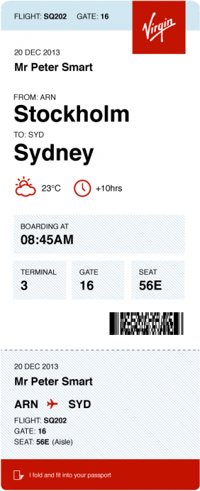 Peter Smart's alternate boarding pass