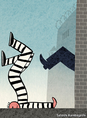 Cartoon of an inmate being kicked out, from the Economist