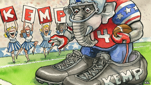 Cartoon of GOP elephant in large shoes labelled 'KEMP' at football match