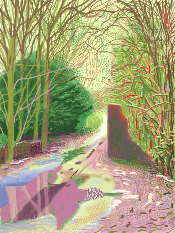 The Arrival of Spring in Woldgate, iPad sketch, David Hockney