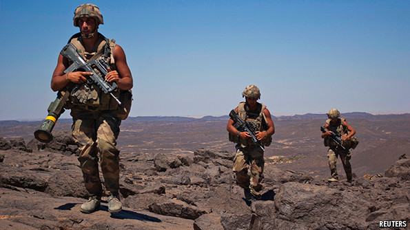 French soldiers patrol in the Terz valley in Mali