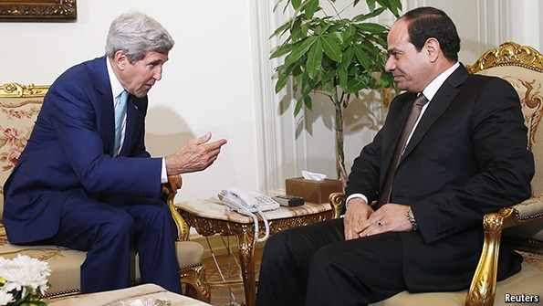 Jhon Kerry and Sisi, /Picture from The Economist