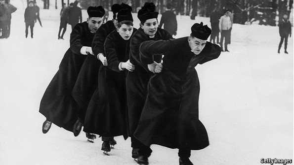 Priests ice skating