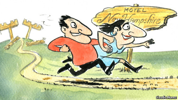 Cartoon showing a couple running