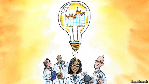 illustration of scientists with a lightbulb to indicate a bright idea. Credit Dave Simonds