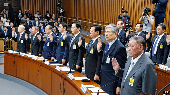 South Korea's chaebol bosses face parliament