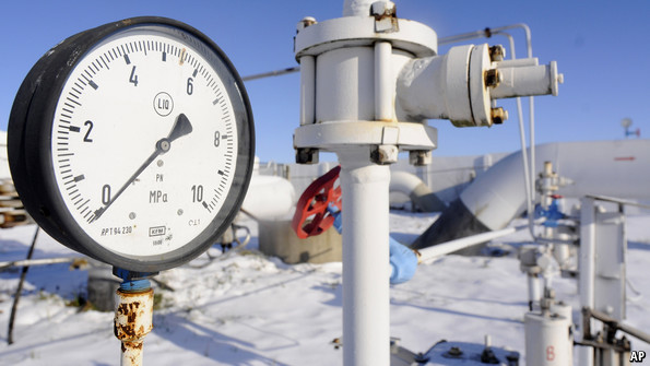 A pressure gauge on a pipeline carrying Russian gas in Ukraine