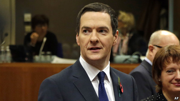 George Osborne, Britain's finance minister, announces victory in Brussels