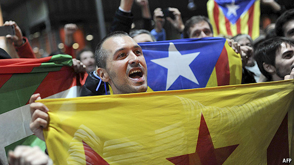 Pro-independence marchers in Catalonia on Sunday