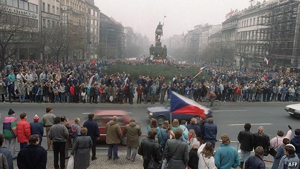 Protestors in Prague during 1989's Velvet Revolution