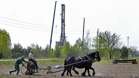 An exploratory shale gas well on a Polish farm