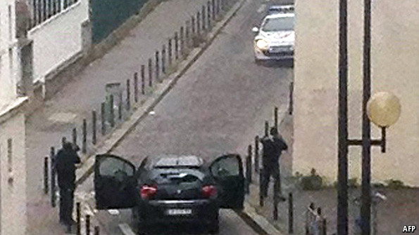 Gunmen fleeing the scene of the Charlie Hebdo shootings