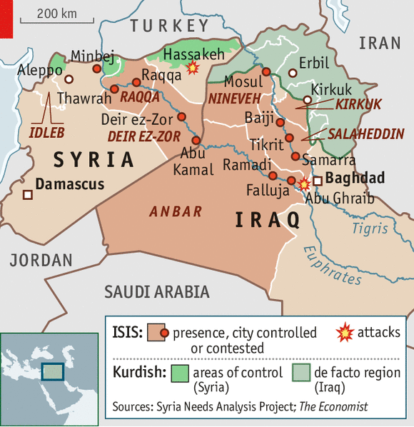 27 maps that explain the crisis in iraq vox where isis has control in iraq and syria gumiabroncs Choice Image