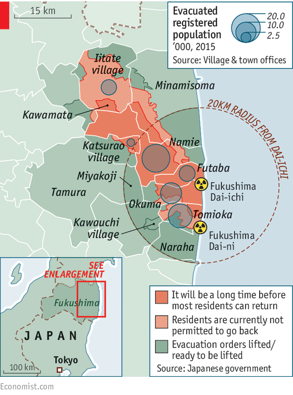 Map Of Uninhabitable Nuclearcontamination Zones Around - Japan exclusion zone map