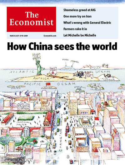satirical illustration: How China sees the world