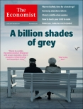 Elderly couple sat on bench looking out to sea, Economist cover 26th April 2014