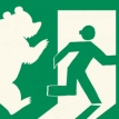 Exit, followed by a bear