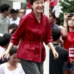 The iron lady in red