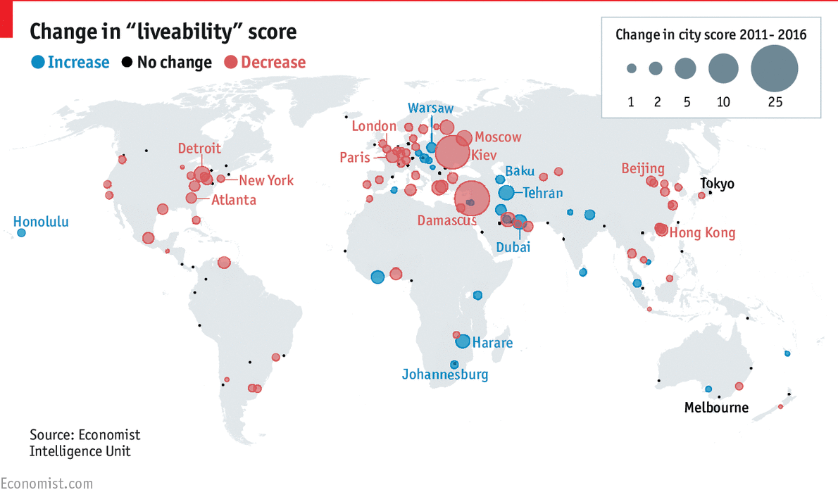 Daily chart the world s most liveable cities the economist for Top ten cities in the us