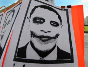obama, protest, joker, poster