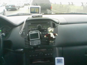 A GPS on a car dashboard