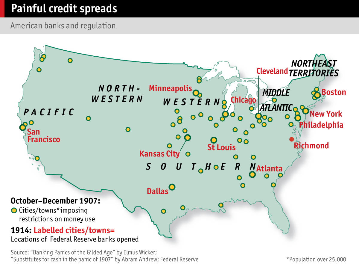 financial crises the  map showing us cities that imposed restrictions on money use