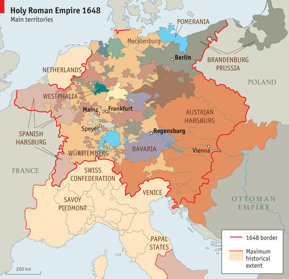 Modern maps of the Holy Roman Empire show as many statelets as