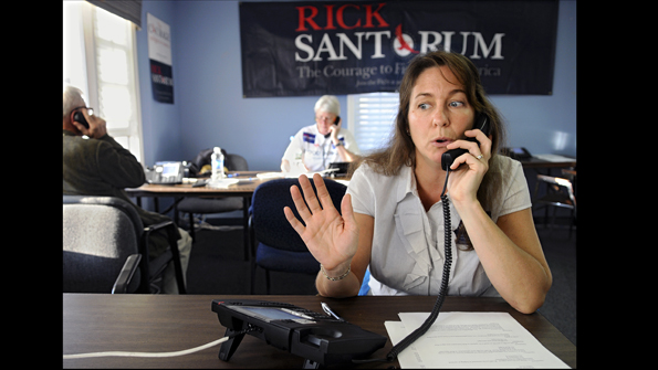 Christine Suarez working the phones for Rick Santorum