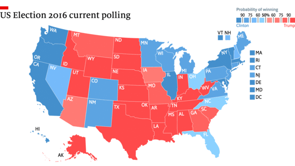 The State Of The Race US Election Polling - Final us electoral map 2016