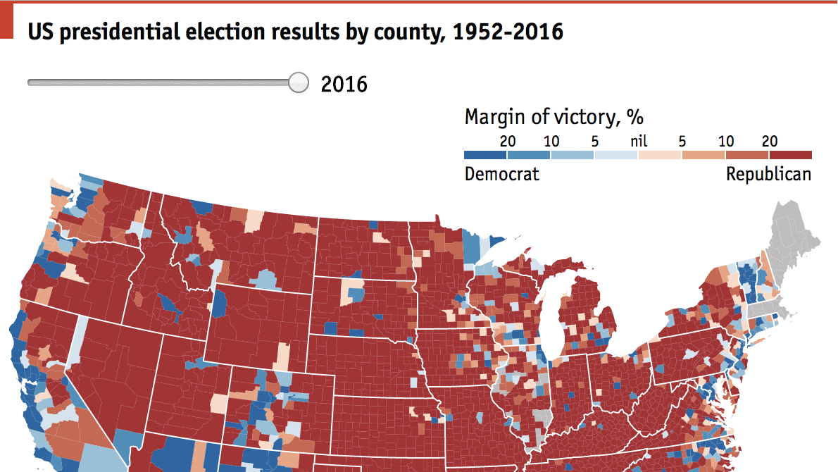 A Country Divided By Counties Daily Chart - 2016 election results us map by county