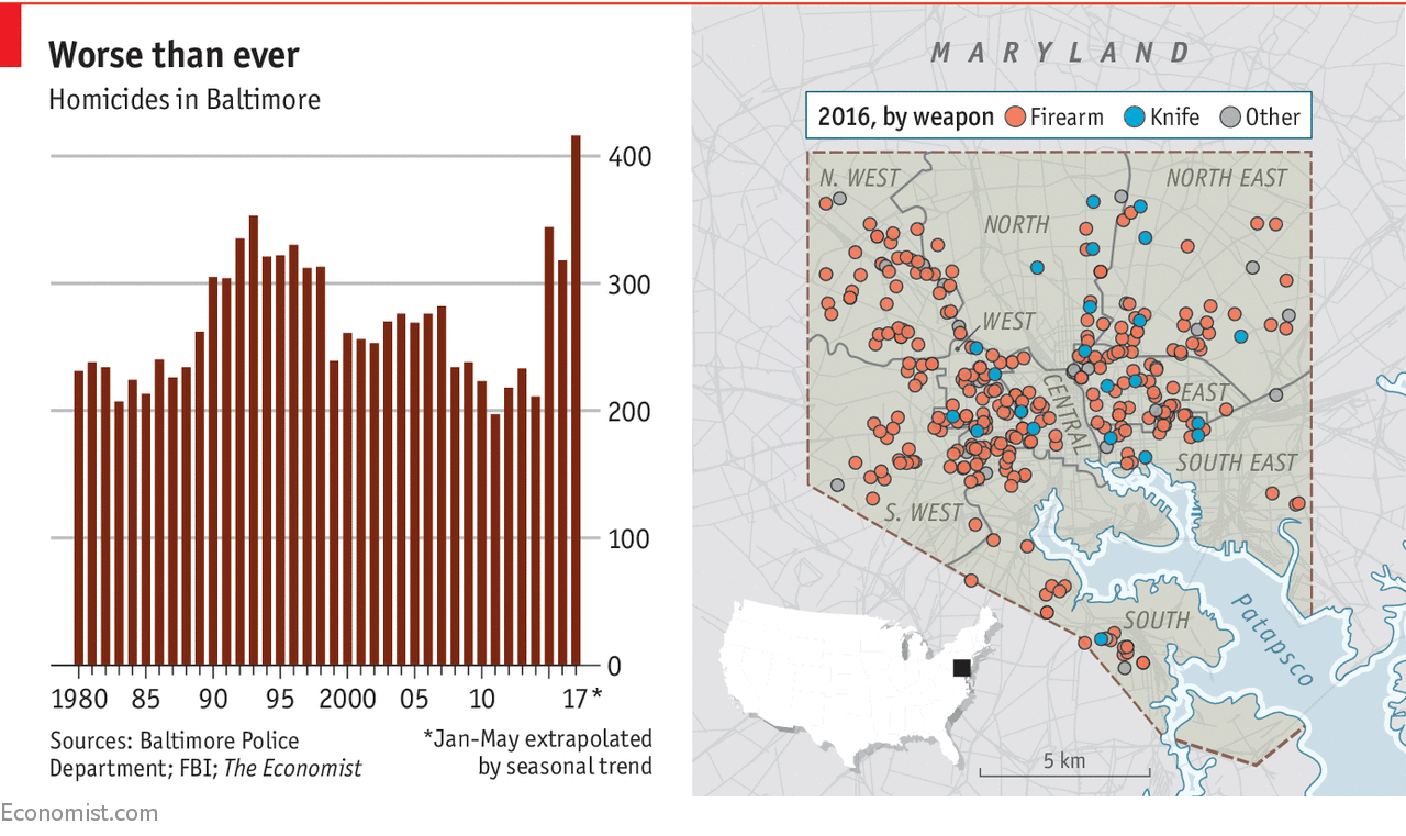 Baltimore's murder rate is setting unwanted records   Daily chart